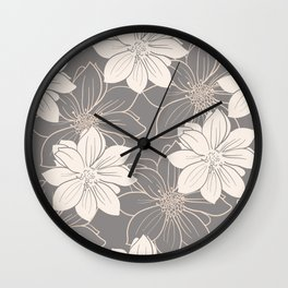 Pink and grey autumn dahlia flowers Wall Clock