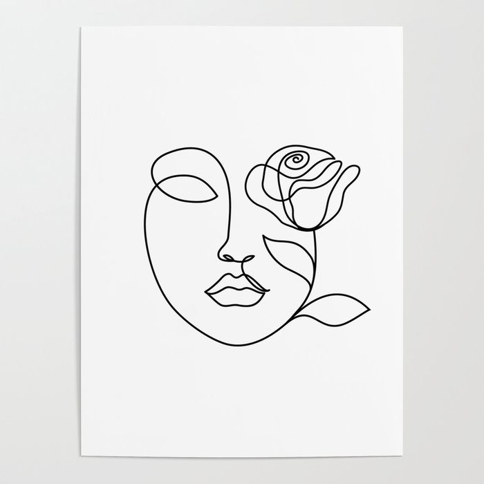 Beauty Woman Face With Rose Abstract Minimal Fine Art One Line Drawing Poster By Livdeco