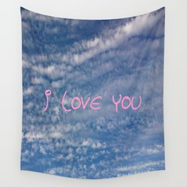 I love you,love,sky,cloud,girl, romantic,romantism,women,heart,sweet Wall Tapestry