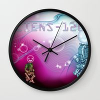 aliens Wall Clocks featuring aliens by amanvel