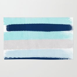 Stripes minimal painted stripe pattern blue indigo grey nautical nursery decor Rug