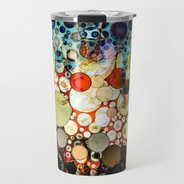 Contemporary Blue Orange Bubble Abstract Travel Mug