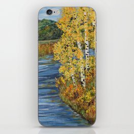 Autumn in the Mountains, Fall Decor, Aspen Birch Tree Painting iPhone Skin