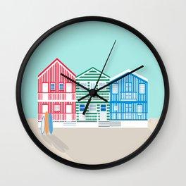 Striped Colorful Houses on Costa Nova Beach, Portugal Wall Clock