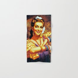 Jesus Helguera Painting of a Mexican Calendar Girl with Bangles Hand & Bath Towel