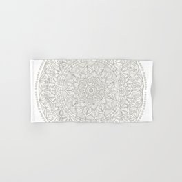 Gray Circle of Life Mandala on White Hand & Bath Towel