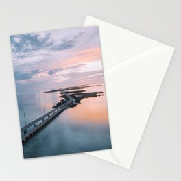 Seven mile bridge in Florida Keys at sunset. Stationery Cards