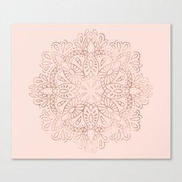 Mandala Rose Gold Pink Shimmer on Blush Pink Canvas Print