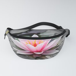 Pink Waterlily on Black Gothic Leaves. Fanny Pack