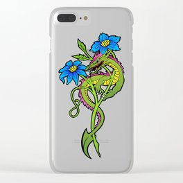 Flower Dragon Clear iPhone Case