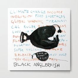 Black Anglerfish Metal Print