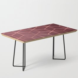 Pink and Rose Gold - Geometric Textured Gradient Cube Design Coffee Table