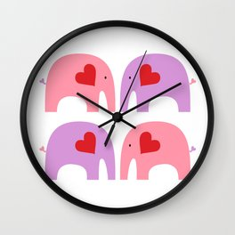 Pink and Purple Elephants Wall Clock