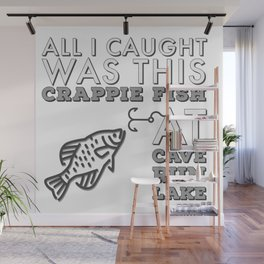 All I caught was this crappie fish at Cave Run Lake Black and White Wall Mural