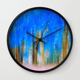 Artistic blue blurry trees | Motion blur technique Wall Clock