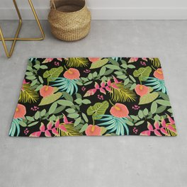 Exotic Garden Tropical Illustration, Floral, Bright and Colourful Caribbean Style Rug