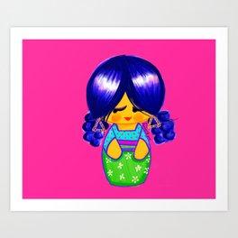 Curly Kokeshi Art Print
