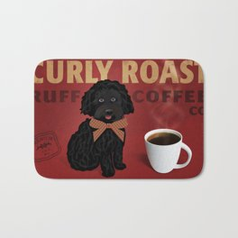 Retro style coffee sign art featuring a curly black dog Bath Mat