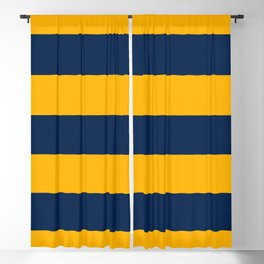 Slate Blue and Golden Yellow Stripes Blackout Curtain