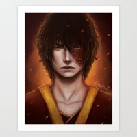 zuko Art Prints featuring Zuko Portrait by Amourinette