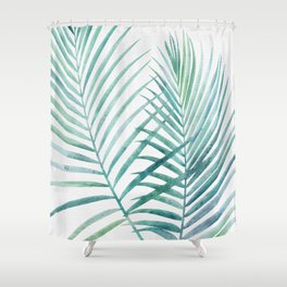 Twin Palm Fronds - Teal Shower Curtain