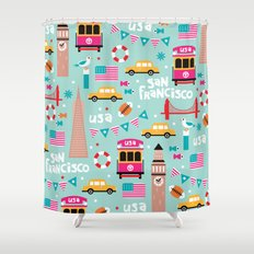 San Francisco travel - Retro style illustration pattern Shower Curtain