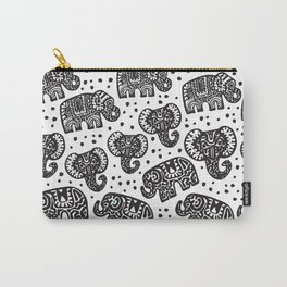 Beautiful pattern Indian Elephant with polka dot ornaments Carry-All Pouch