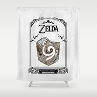 legend of zelda Shower Curtains featuring Zelda legend - Kokiri shield by Art & Be