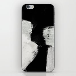 brush stroke black white painted iPhone Skin