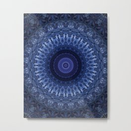 Monochromatic mandala in blue tones Metal Print