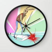 will graham Wall Clocks featuring Hotline Miami: Graham by Paul Scott (Dracula is Still a Threat)