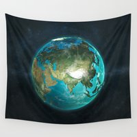 asia Wall Tapestries featuring Globe: Physical Asia by Marco Bagni