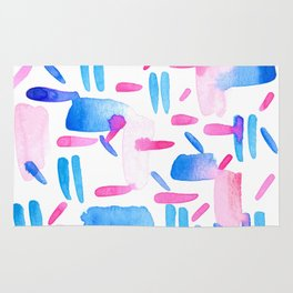 Blue Pink Diagonal Plaid Rug