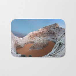 Rock mountain lake Bath Mat