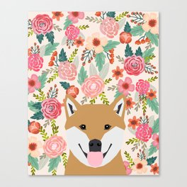 Shiba Inu florals spring summer bright girly hipster dog meme shiba ink puppy pet portraits Canvas Print