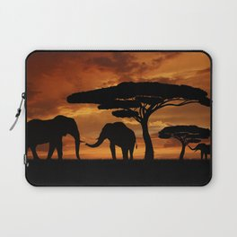 African elephants silhouettes in sunset Laptop Sleeve