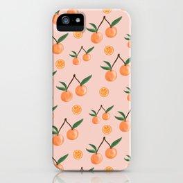 Fruity Oranges Pattern in Peach Pink  iPhone Case
