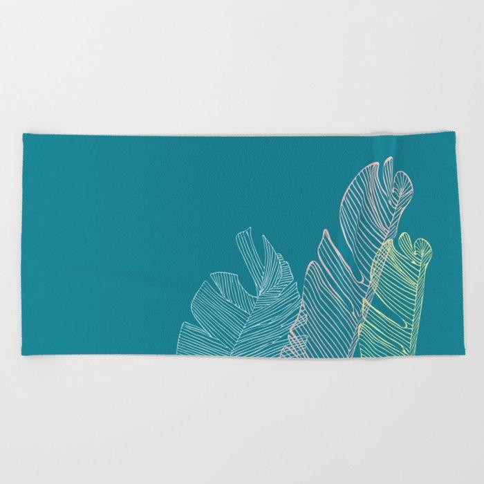 Banana Leaf Trio - Teal Beach Towel