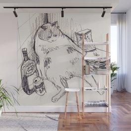 Drunk Cat Wall Mural