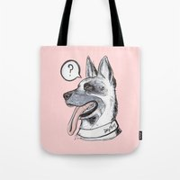 meat Tote Bags featuring Dog Meat by scoobtoobins