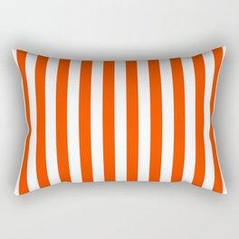 Orange Pop and White Vertical Cabana Tent Stripes Rectangular Pillow