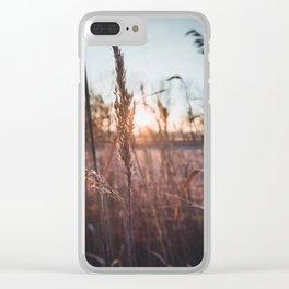 sunrise in the field Clear iPhone Case