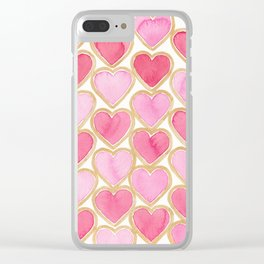 Gold Heart Clear iPhone Case