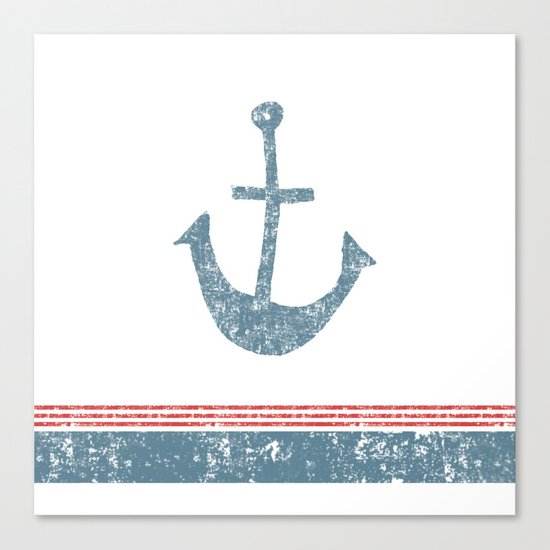 Maritime Design- Nautic Anchor on stripes in blue and red #Society6 Canvas Print