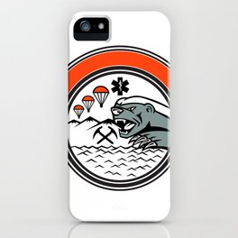 Sea Air Mountain Rescue Honey Badger Mascot iPhone Case