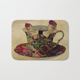 Chit chat over coffee Bath Mat