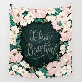 Floral design illustration / pink / Roses Flowers and Message Wall Tapestry