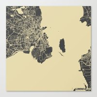 copenhagen Canvas Prints featuring Copenhagen by Map Map Maps