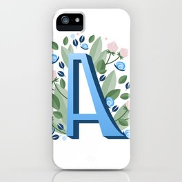 Letter A hand lettering Blue iPhone Case