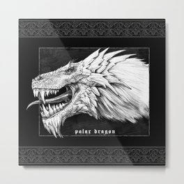 Polar dragon portrait, black Gothic edition Metal Print